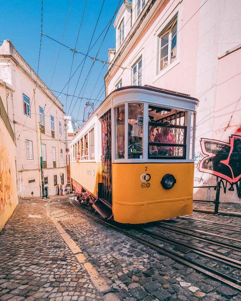 Yellow tram in Lisbon #Portugal #Europe #Travel