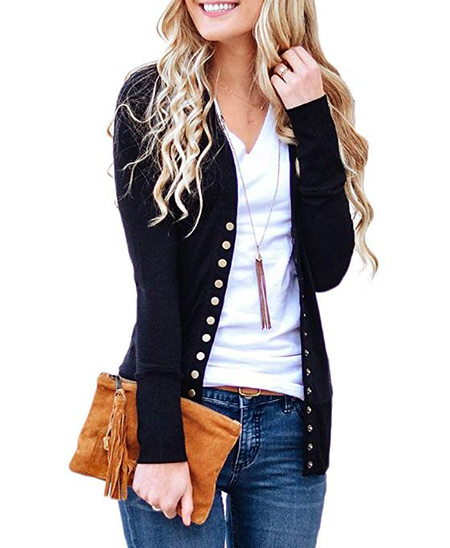 Black cardigan that women wear in Ireland