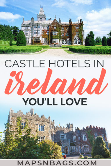 Dreaming of staying in an Irish castle hotel? You can! Here are the top castle hotels in Ireland for your bucket list (and for all budgets!). The most fairytale places, such as Ashford and Lough Eske Castle. Don't miss this royal experience! Stay in a castle hotel | Luxury | Affordable #ireland #mapsnbags #europe #castles