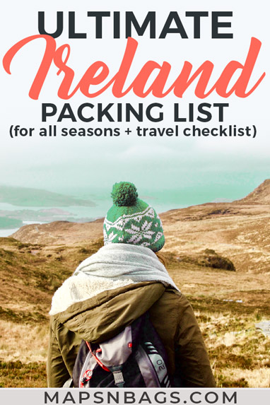 Not sure what to pack for Ireland? Check out this ultimate Ireland packing list for summer, spring, fall, and winter...all seasons! Including Ireland travel tips, travel checklist, and what to wear in Ireland (for men and women!). Check it out!  Discover what to bring to Ireland | packing for ireland | Ireland travel tips #ireland #packing #packinglist #irish #traveltips #irelandtravel #irishgirl #europe
