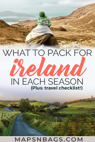Traveling to Ireland? Then check out this ultimate Ireland packing list for summer, spring, fall, and winter...all seasons! Including Ireland travel tips, travel checklist, and what to wear in Ireland (for men and women!). Check it out! Discover what to bring to Ireland | packing for ireland | Ireland travel tips | what to pack for Ireland in September #ireland #packing #august #irish #traveltips #irelandtravel #may #june #March #europe