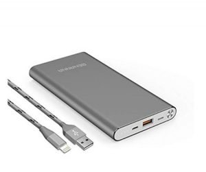 Portable gray power bank for your packing list for Ireland