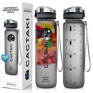 Transparent and silver water bottle with fruits infusion