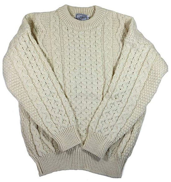 Off-white knit Aran sweater for men