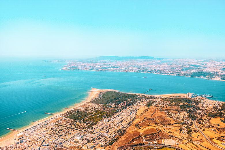Aerial shot from Lisbon beaches at Costa da Caparica