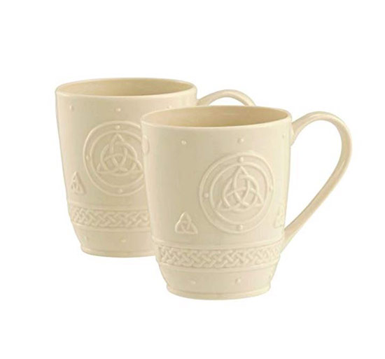 Off-white mugs with Celtic pattern