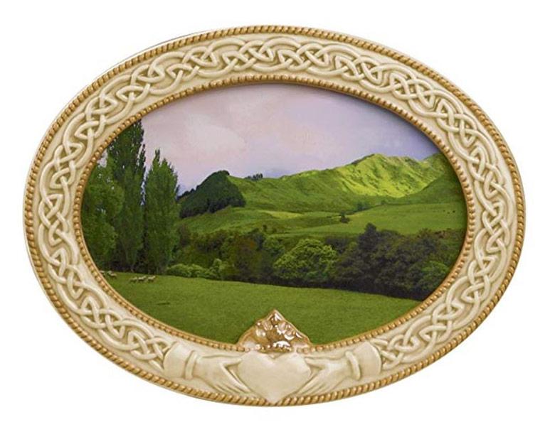 Green landscape image in a Celtic photo frame