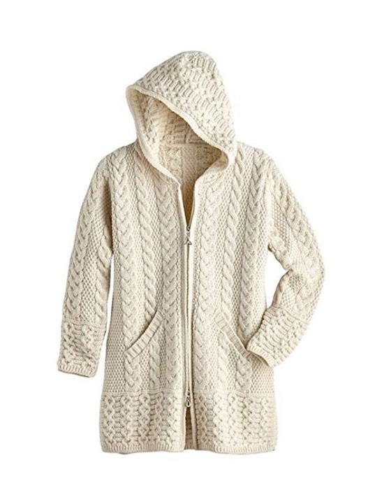 Off-white cardigan with Irish wool and Aran pattern