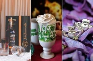 Collage of three Irish things: Jameson whiskey, mug, and Claddagh rings