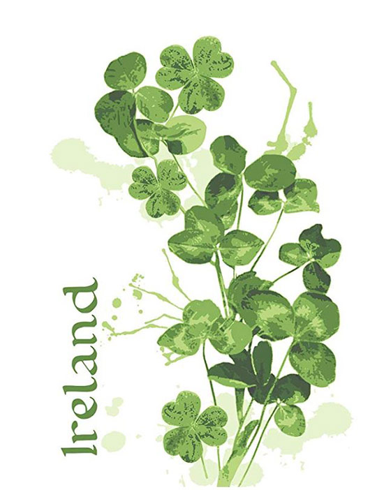 "A branch of shamrocks and the word ""Ireland"" on a tea towel"