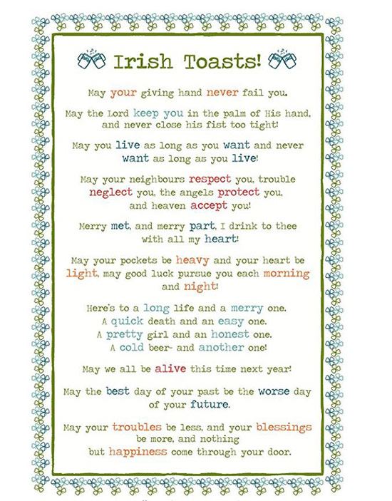 Irish blessing on a dish towel