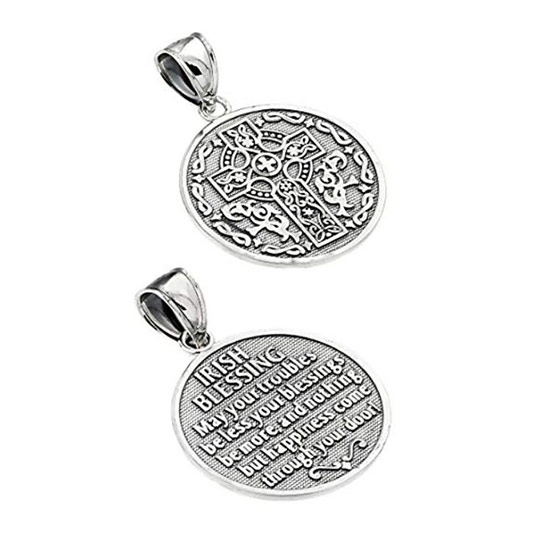 Two silver pendants with an Irish cross and blessing next to each other