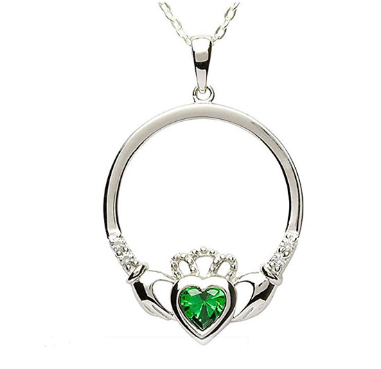 Claddagh ring pendant with a green stone