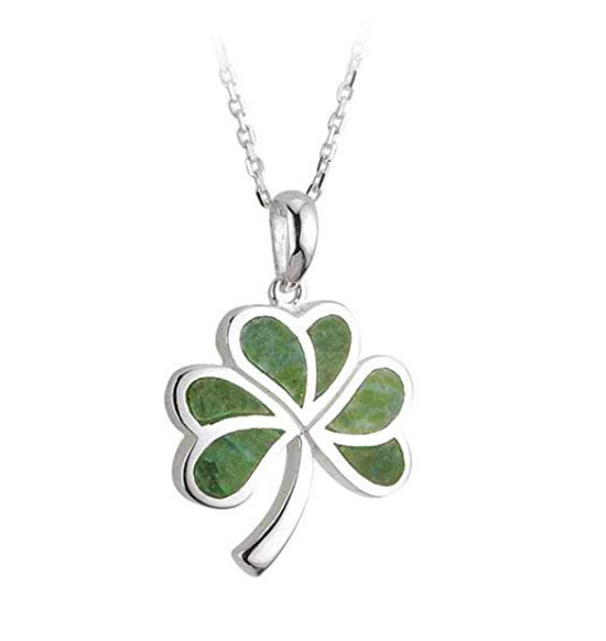 Silver and green shamrock pendant