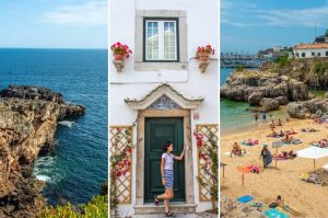 Collage of three photos taken in Cascais