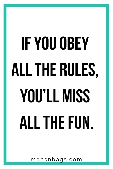 "Sassy quote for Instagram written in black on a white background ""If you obbey all the rules, you'll miss all the fun""."