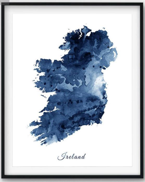 The framed blue watercolor print of Ireland is a perfect Irish souvenir