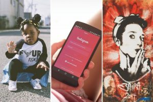 Collage of little girl being sassy, the Instagram app open on a black phone, and the white graffiti of a woman being sassy on a red wall.