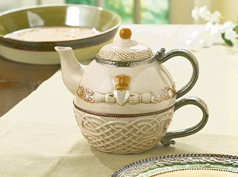 Irish teapot and teacup on a table
