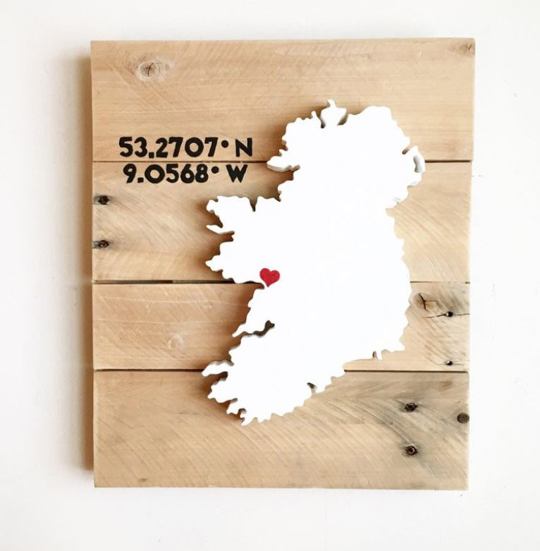 Wooden wall art of Ireland on a wooden pallet