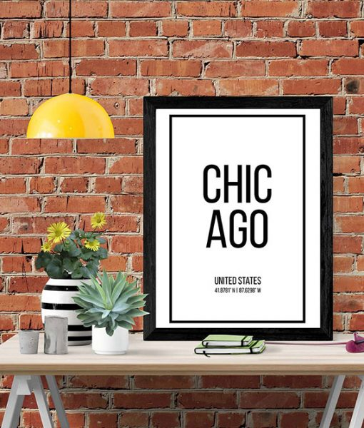 Black frame with white wall art with the word Chicago in black
