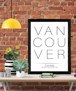 Black frame with white wall art with the word Vancouver in black