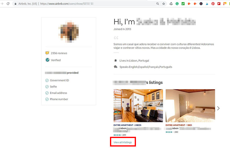 Airbnb listing in Lisbon