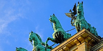 Green horses from the Brandenburg gate statue in Berlin