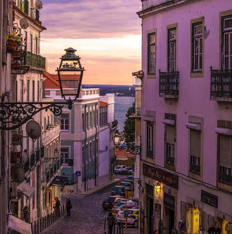 Windows in Lisbon during sunset