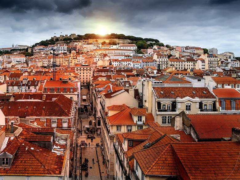 Photographing the orange rooftops is one of the best Lisbon travel tips