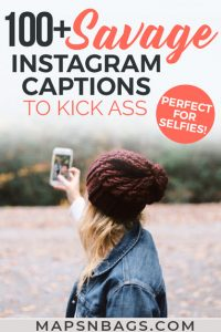 Pinterest graphic about Savage Instagram captions for selfies