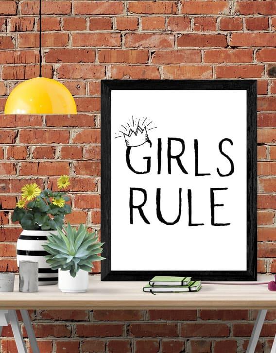 Mockup Girls Rule wall art