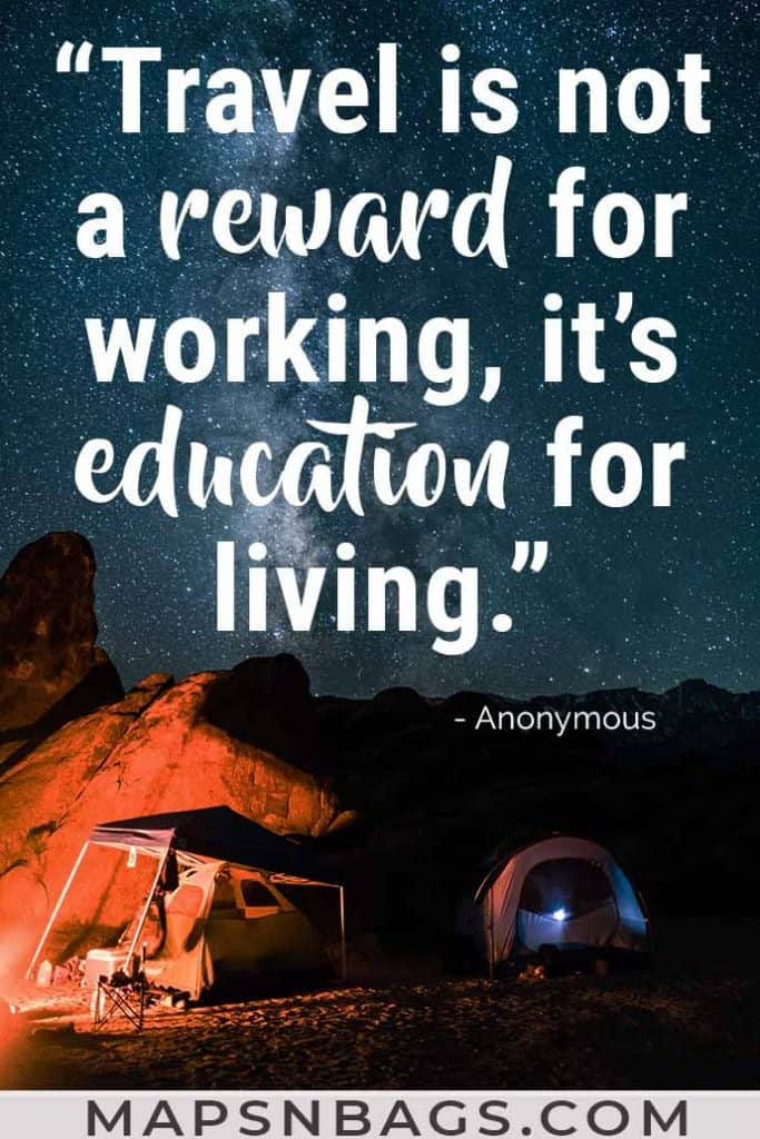 Image with a quote about travel written on it