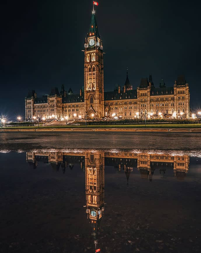 Canadian parliament lit up during the night