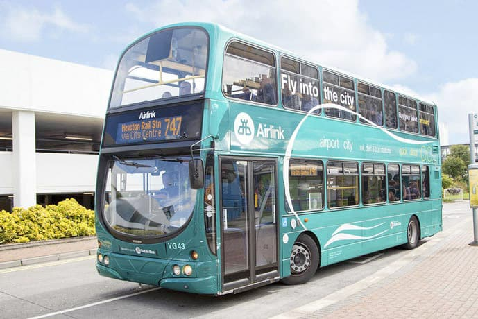 Blue double decker, Airlink, bus at Dublin Airport