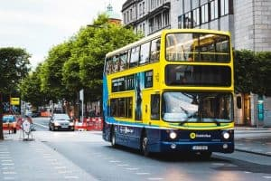 Yellow double decker bus in Dublin
