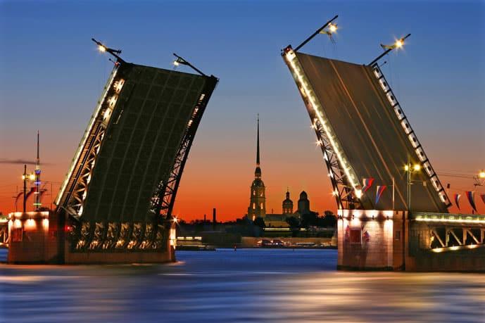 Palace Bridge in St Petersburg, Russia