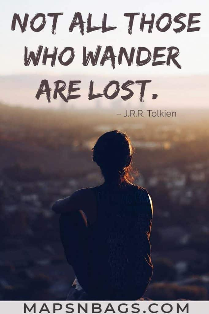 Image with an inspiring travel quote written on it