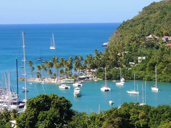 Boats near the Caribbean island of Saint Lucia