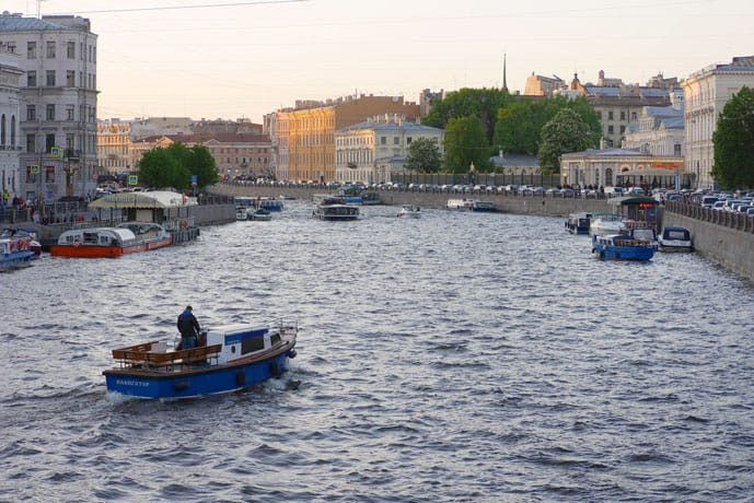 Fontanka River in St Petersburg, Russia