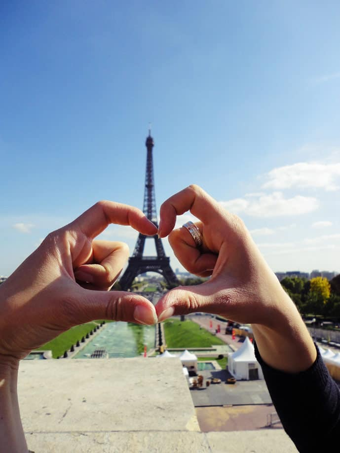 Is Paris the City of Love? The Eiffel Tower in this romantic city.