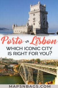 Pinterest graphic Porto vs Lisbon
