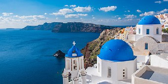 White houses with blue domes in Santorini