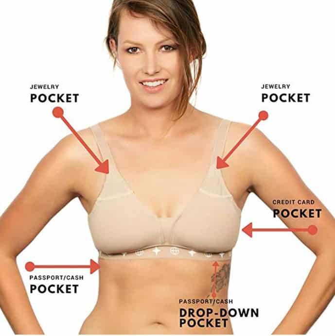 Travel bra with hidden pockets
