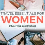 Pinterest graphic - Travel Essentials for Women: Female Packing List