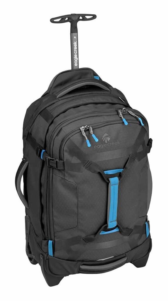 Black and blue rolling backpack from Eagle Creek