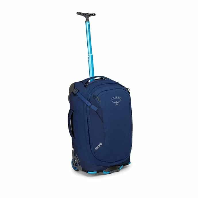 Blue backpack with wheels from Osprey