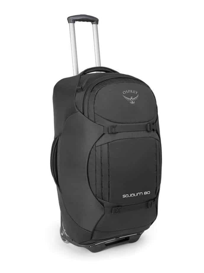 Gray wheeled backpack from Osprey
