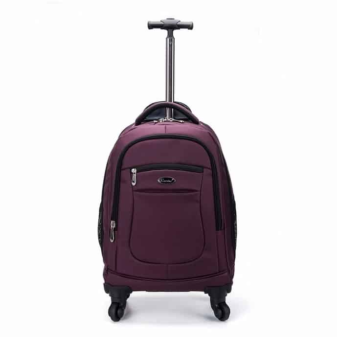 Purple wheeled backpack from Racini