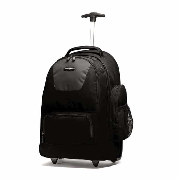 Black wheeled backpack from Samsonite